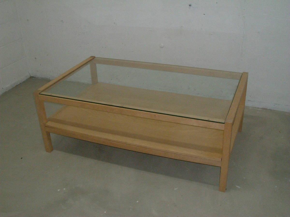神奈川発 IKEA イケア製木製フレームガラステーブル 120×70×41cm 引取限定 割と綺麗_画像3