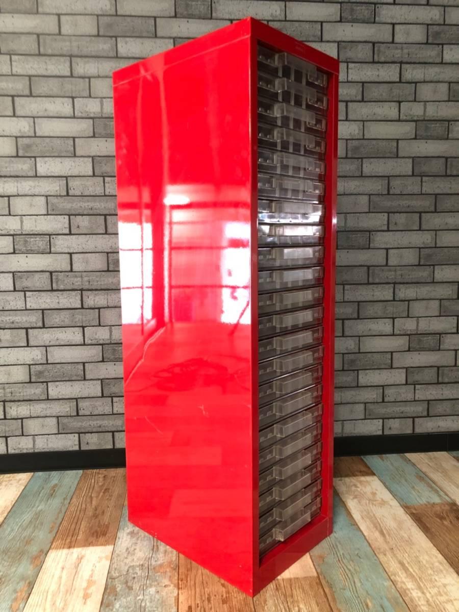 【UCHIDA】 クリスタル キャビネット トレー 1列 浅型 22段 業務用 オフィス 書類 収納 棚 引き出し 事務 ウチダ オシャレ 赤 レッド _画像3