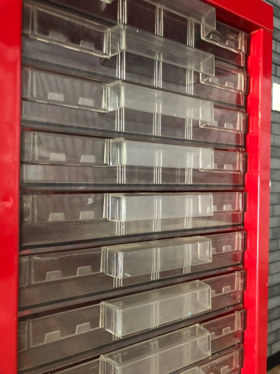 【UCHIDA】 クリスタル キャビネット トレー 1列 浅型 22段 業務用 オフィス 書類 収納 棚 引き出し 事務 ウチダ オシャレ 赤 レッド _画像6