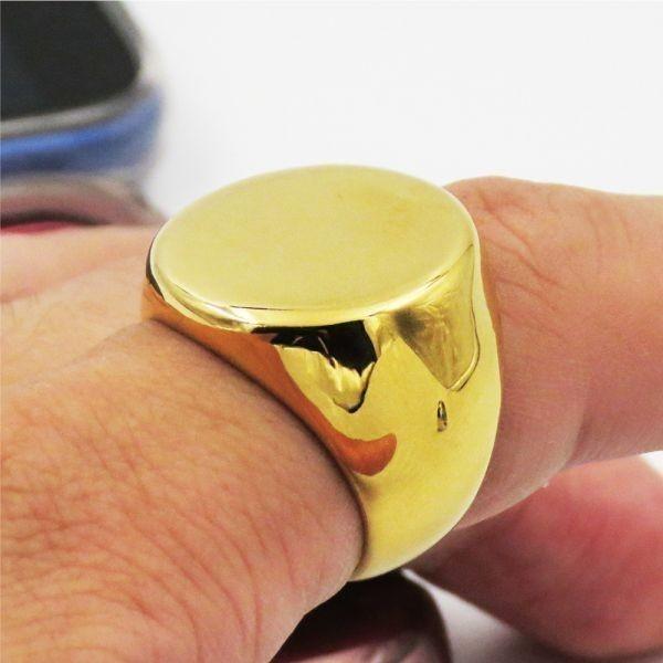 指輪 リング 印台 サークル 丸型 シグネット カレッジ サージカルステンレス メンズ 重厚 高級感 シンプル 送料無料【ゴールド/26号】_画像2