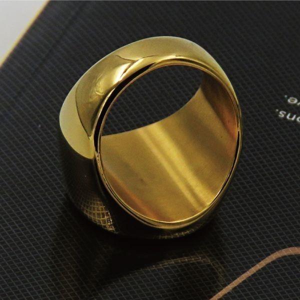 指輪 リング 印台 サークル 丸型 シグネット カレッジ サージカルステンレス メンズ 重厚 高級感 シンプル 送料無料【ゴールド/26号】_画像3
