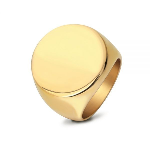 指輪 リング 印台 サークル 丸型 シグネット カレッジ サージカルステンレス メンズ 重厚 高級感 シンプル 送料無料【ゴールド/26号】_画像4