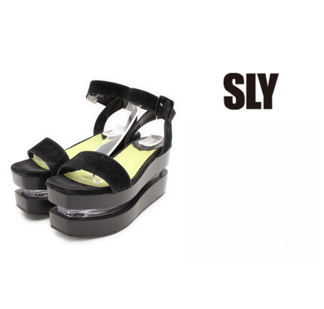 SLY プラットフォームサンダル厚底ストラップシューズレディースLサイズ美品クロブラックスライ女性用_画像1