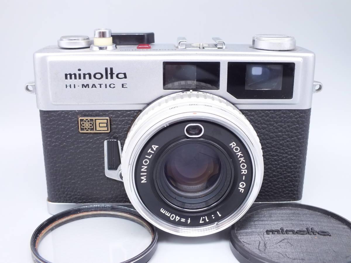 MINOLTA ミノルタ/HI-MATIC E/レンジファインダー/レンズ ROKKOR-QF 40mm 1:1.7/動作品/フィルムカメラ/キャップ付属/管D0722