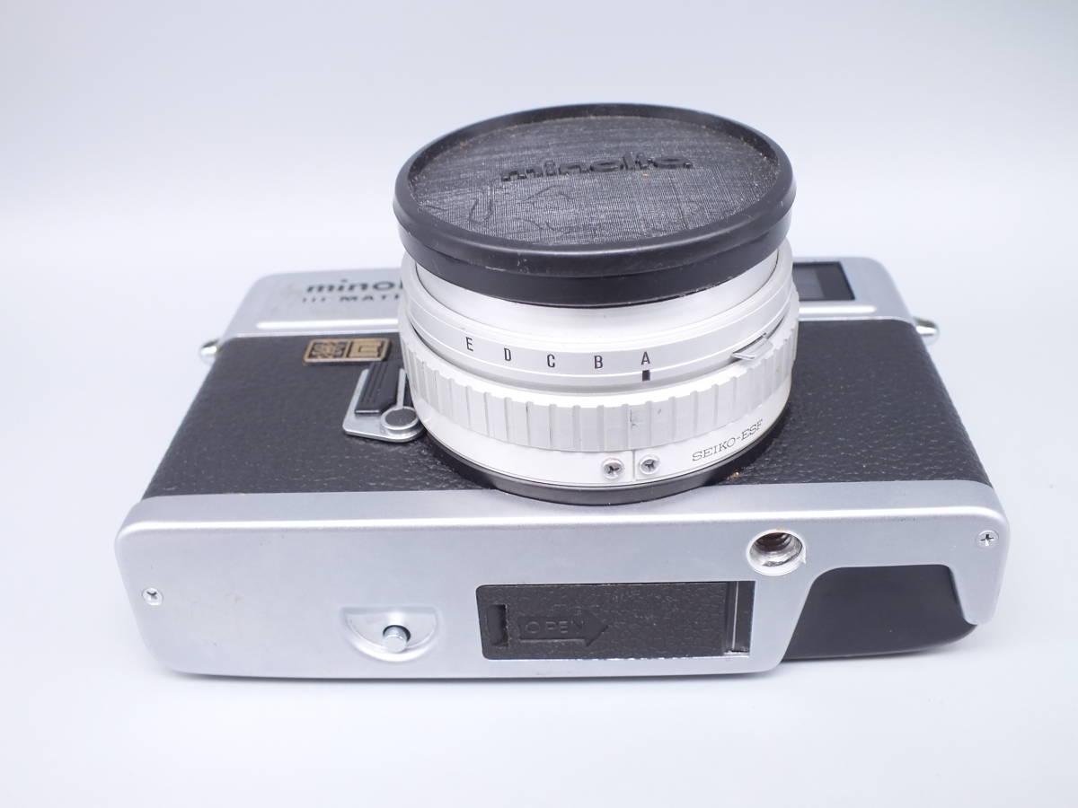 MINOLTA ミノルタ/HI-MATIC E/レンジファインダー/レンズ ROKKOR-QF 40mm 1:1.7/動作品/フィルムカメラ/キャップ付属/管D0722_画像6