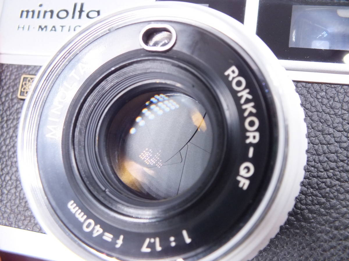 MINOLTA ミノルタ/HI-MATIC E/レンジファインダー/レンズ ROKKOR-QF 40mm 1:1.7/動作品/フィルムカメラ/キャップ付属/管D0722_画像3