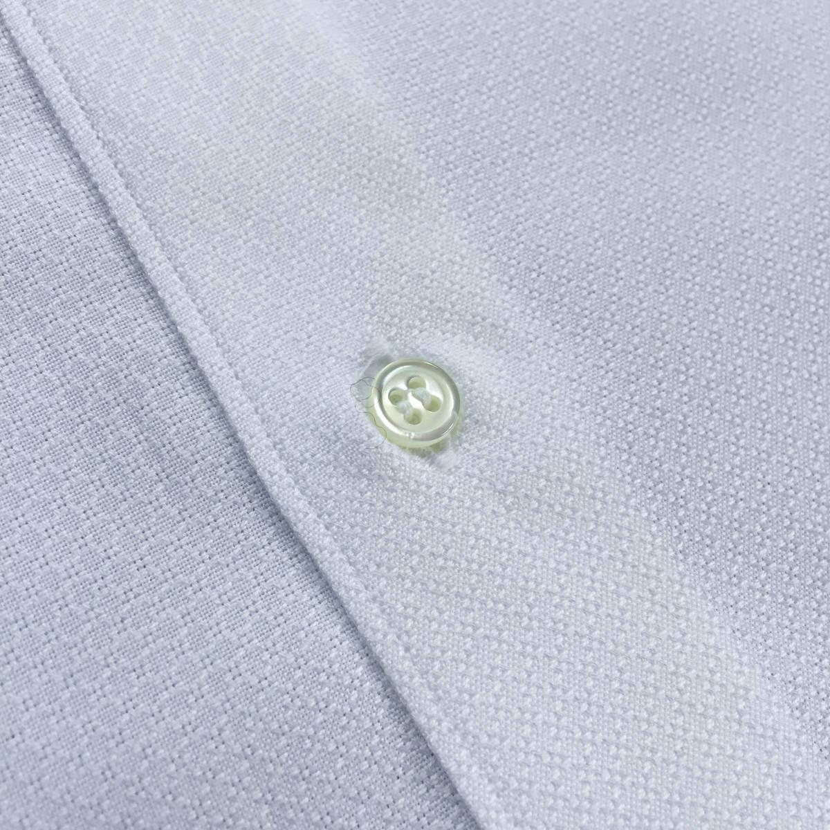定価¥1.9万【ドメブラNo,1ドレスシャツ★アングレー】新品 ジャガードコットン 白 クールビズ最適 カッタウェイ スリムフィット 40 M_画像7