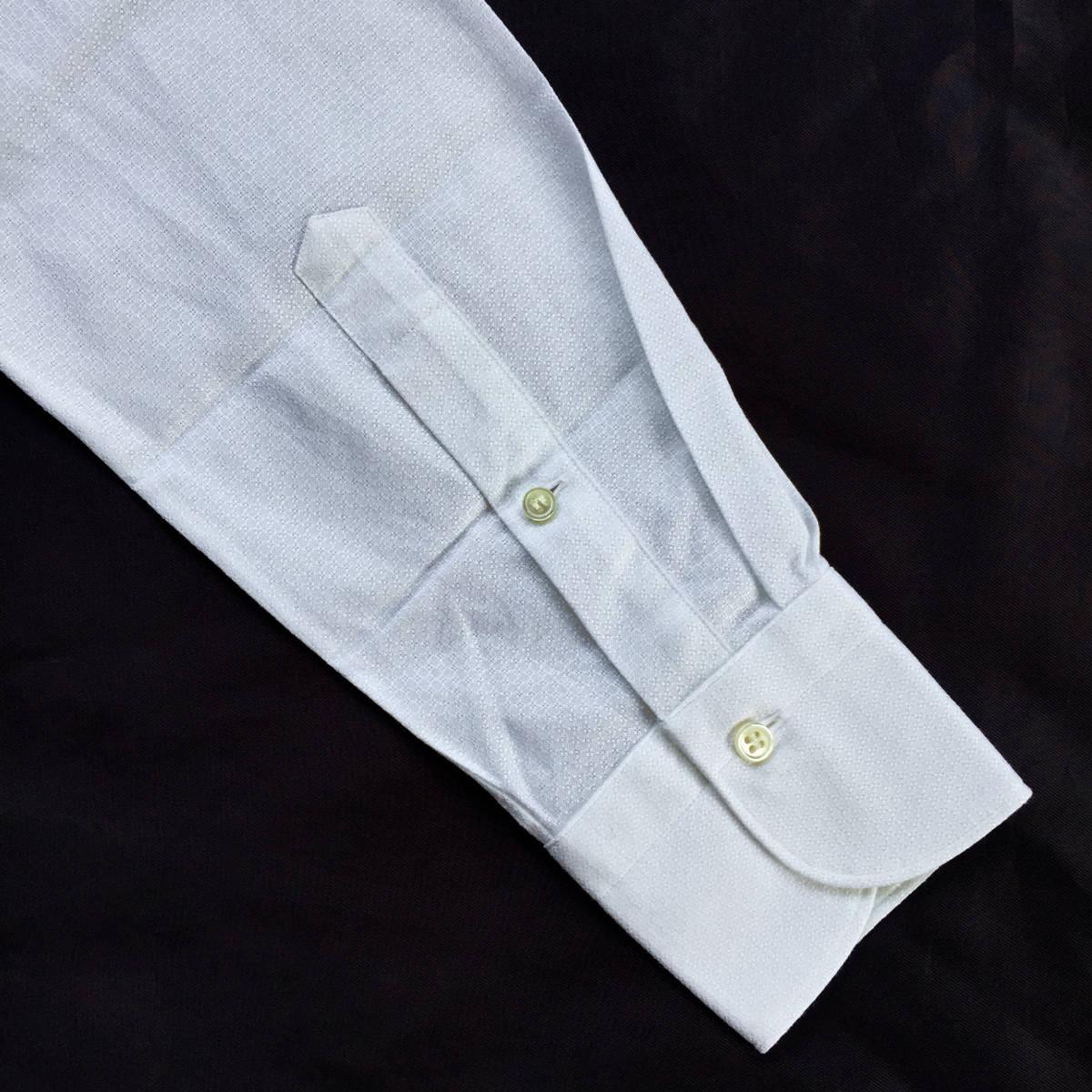 定価¥1.9万【ドメブラNo,1ドレスシャツ★アングレー】新品 ジャガードコットン 白 クールビズ最適 カッタウェイ スリムフィット 40 M_画像5
