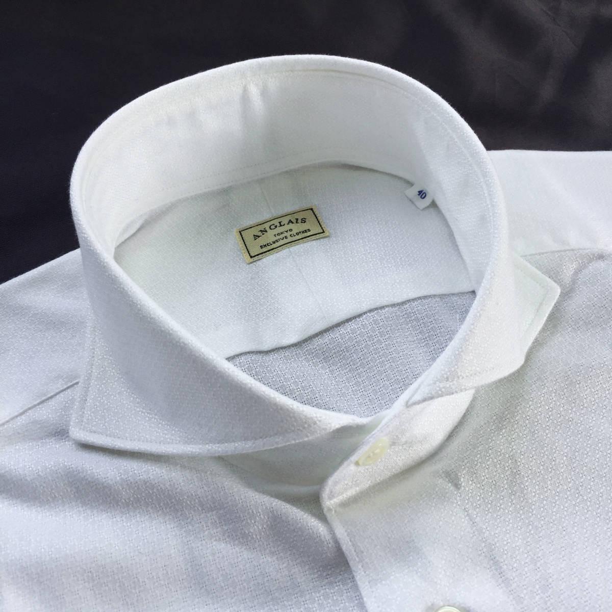 定価¥1.9万【ドメブラNo,1ドレスシャツ★アングレー】新品 ジャガードコットン 白 クールビズ最適 カッタウェイ スリムフィット 40 M_画像2