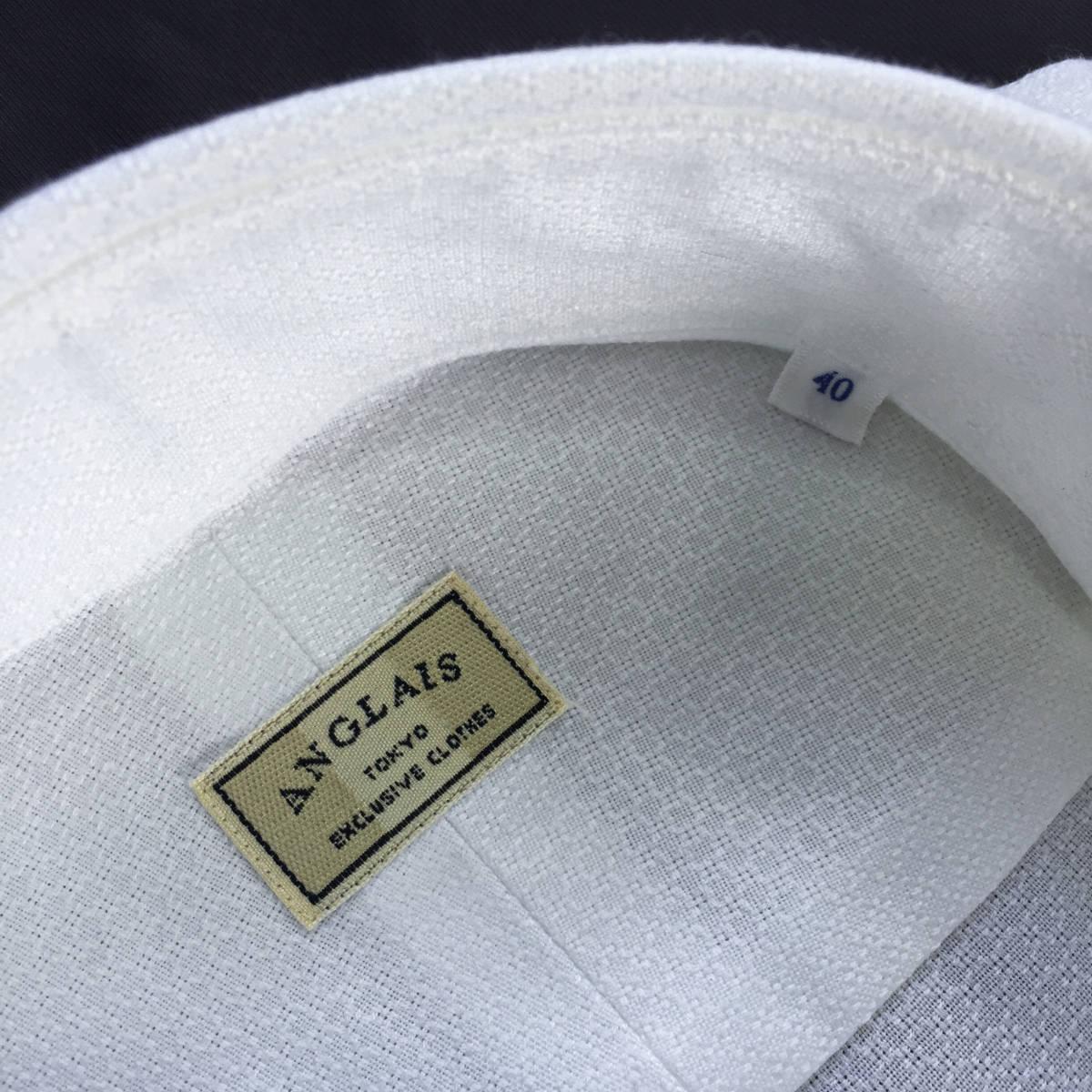 定価¥1.9万【ドメブラNo,1ドレスシャツ★アングレー】新品 ジャガードコットン 白 クールビズ最適 カッタウェイ スリムフィット 40 M_画像4