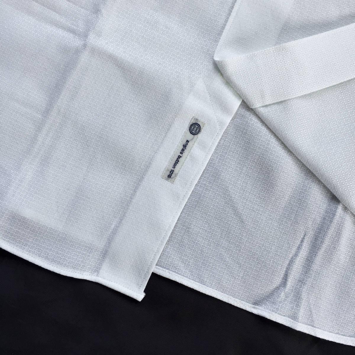 定価¥1.9万【ドメブラNo,1ドレスシャツ★アングレー】新品 ジャガードコットン 白 クールビズ最適 カッタウェイ スリムフィット 40 M_画像8