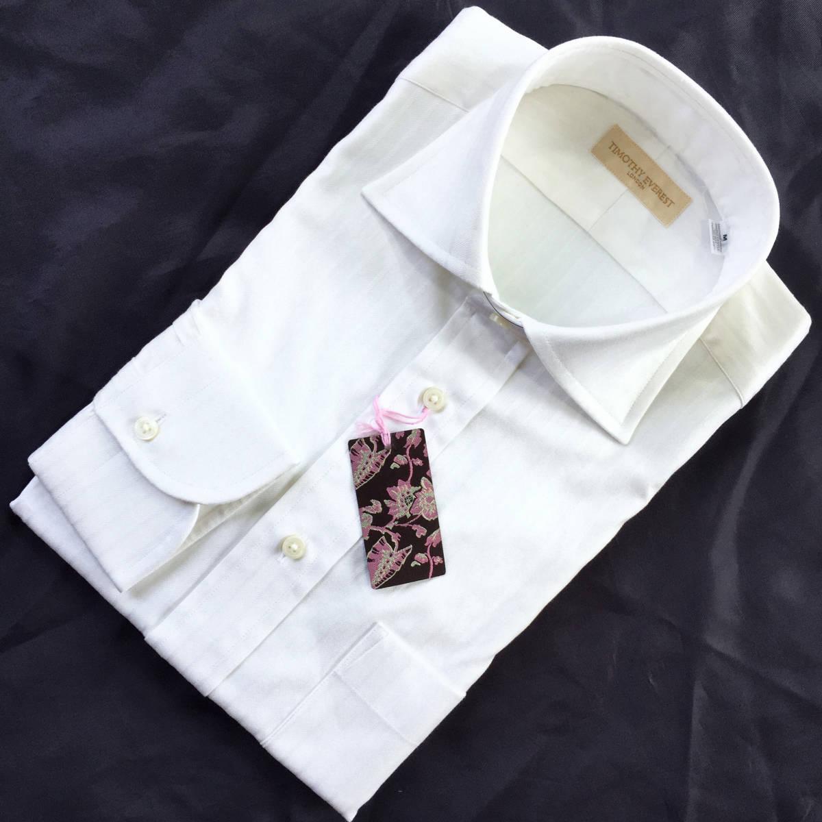 定価¥1.8万【英国名門★ティモシーエベレスト】新品 白 織り柄 ドレスシャツ 胸ポケット付き slimfit M 38