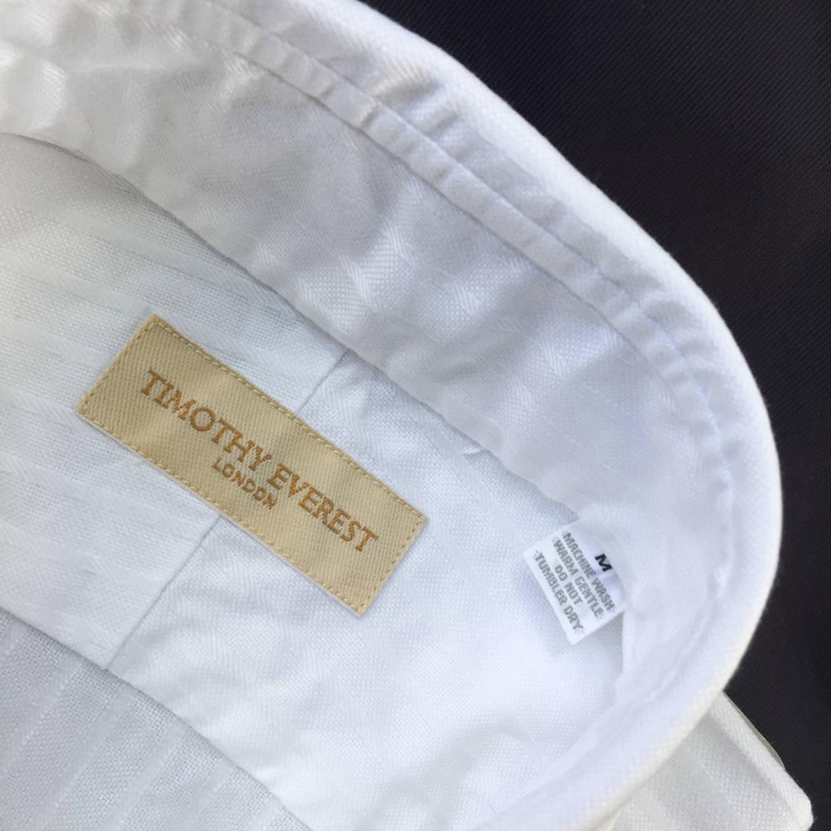 定価¥1.8万【英国名門★ティモシーエベレスト】新品 白 織り柄 ドレスシャツ 胸ポケット付き slimfit M 38_画像3
