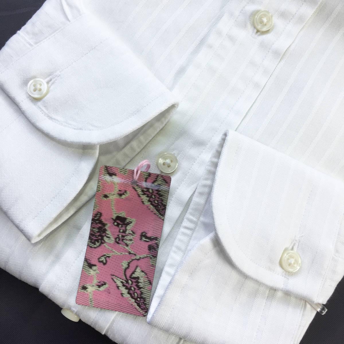 定価¥1.8万【英国名門★ティモシーエベレスト】新品 白 織り柄 ドレスシャツ 胸ポケット付き slimfit M 38_画像6