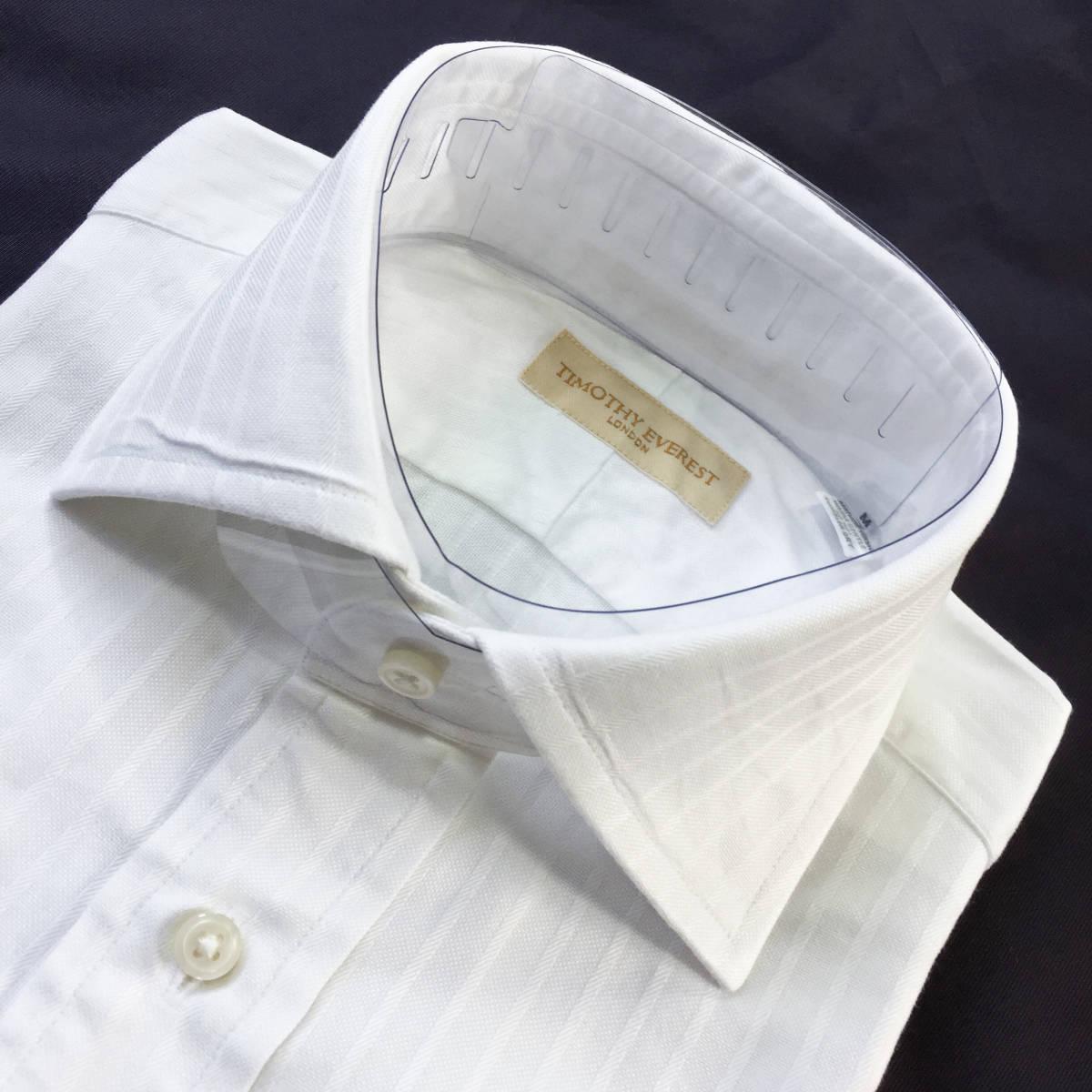 定価¥1.8万【英国名門★ティモシーエベレスト】新品 白 織り柄 ドレスシャツ 胸ポケット付き slimfit M 38_画像8