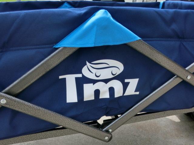 ①スタ キャリーワゴン ブルー 青 TMZ アウトドア ワゴン カート キャンプ オフロード ワイドタイヤ 折りたたみ式 レジャー 多用途 _画像2