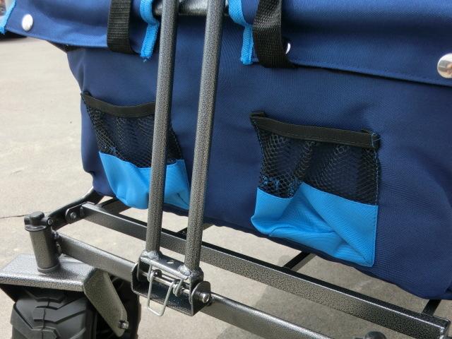 ①スタ キャリーワゴン ブルー 青 TMZ アウトドア ワゴン カート キャンプ オフロード ワイドタイヤ 折りたたみ式 レジャー 多用途 _画像3