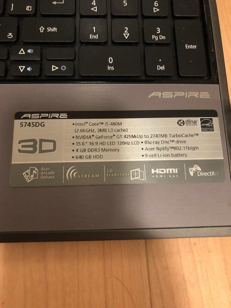 中古 acer ノートパソコン pc 5745DG aspire 3D _画像5