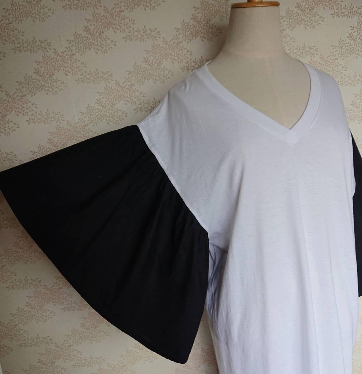 リメイクT Tシャツ Vネック 古着 リメイク ホワイト 1点物 ヴィンテージ vintage ボリュ-ム袖 ボリュ-ムスリーブ Big BigT ビッグ 白 黒_画像4