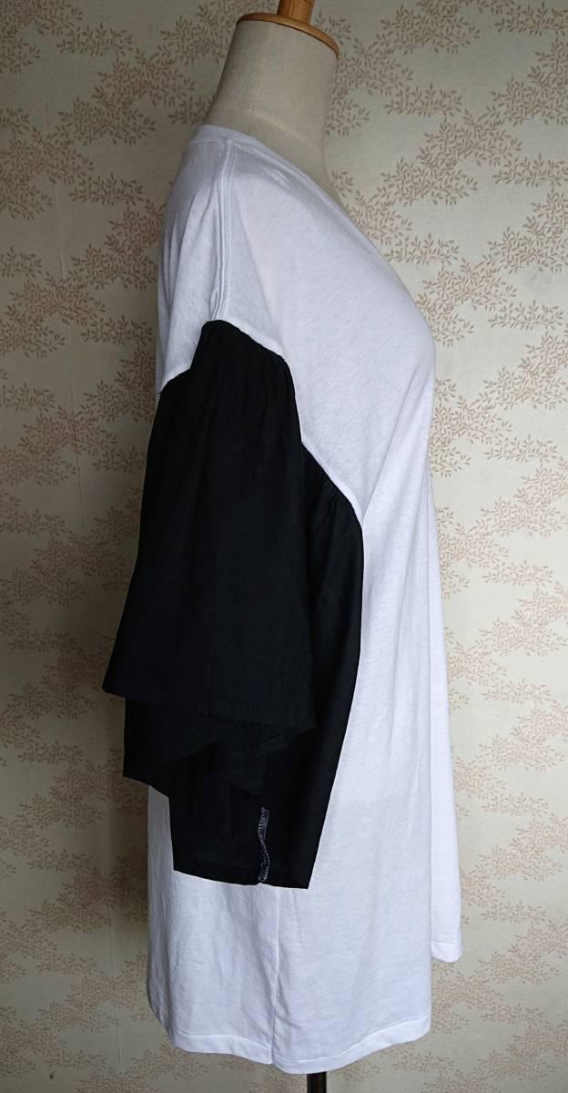 リメイクT Tシャツ Vネック 古着 リメイク ホワイト 1点物 ヴィンテージ vintage ボリュ-ム袖 ボリュ-ムスリーブ Big BigT ビッグ 白 黒_画像5