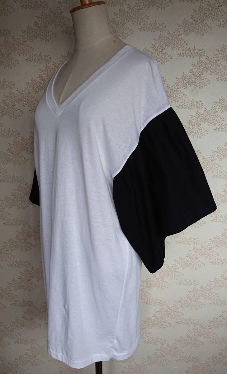 リメイクT Tシャツ Vネック 古着 リメイク ホワイト 1点物 ヴィンテージ vintage ボリュ-ム袖 ボリュ-ムスリーブ Big BigT ビッグ 白 黒_画像7