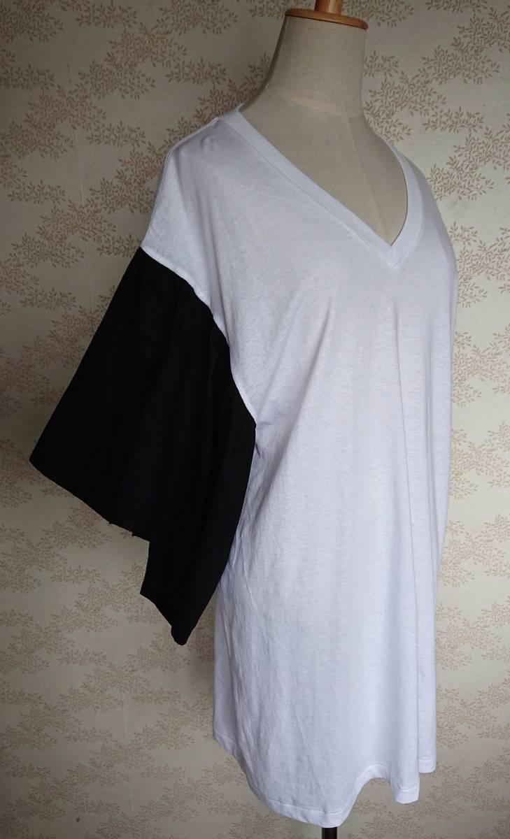 リメイクT Tシャツ Vネック 古着 リメイク ホワイト 1点物 ヴィンテージ vintage ボリュ-ム袖 ボリュ-ムスリーブ Big BigT ビッグ 白 黒_画像2