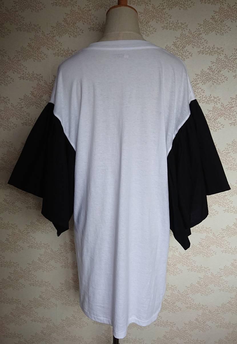 リメイクT Tシャツ Vネック 古着 リメイク ホワイト 1点物 ヴィンテージ vintage ボリュ-ム袖 ボリュ-ムスリーブ Big BigT ビッグ 白 黒_画像6