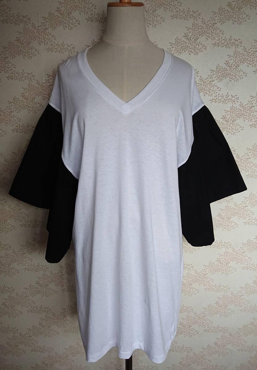 リメイクT Tシャツ Vネック 古着 リメイク ホワイト 1点物 ヴィンテージ vintage ボリュ-ム袖 ボリュ-ムスリーブ Big BigT ビッグ 白 黒_画像1