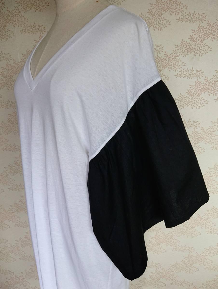 リメイクT Tシャツ Vネック 古着 リメイク ホワイト 1点物 ヴィンテージ vintage ボリュ-ム袖 ボリュ-ムスリーブ Big BigT ビッグ 白 黒_画像8