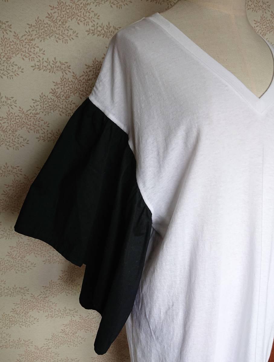 リメイクT Tシャツ Vネック 古着 リメイク ホワイト 1点物 ヴィンテージ vintage ボリュ-ム袖 ボリュ-ムスリーブ Big BigT ビッグ 白 黒_画像3