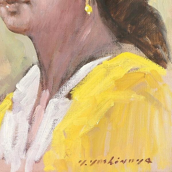 一枚の繪 実力派 吉野谷幸重 油彩画 バルセロナの少女 一水会 師:中村琢二 小磯良平 リアリズム 写実画 美人画 美少女 女性 油絵 一枚の絵_画像5