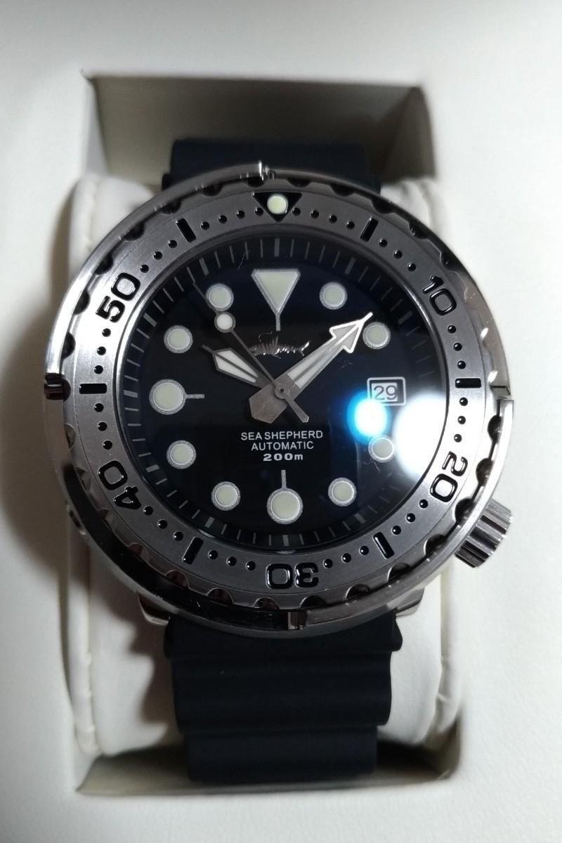 (送料無料)腕時計HEIMDALLRツナ缶ダイバーズウォッチセイコーマリーンマスターオマージュ自動巻NH35Aシルバーベゼル