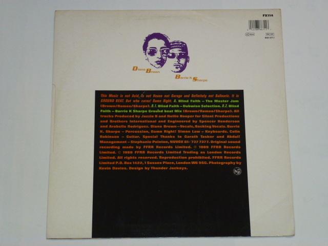 DIANA BROWN & BARRIE K SHARPE / BLIND FAITH / 1989年盤 / FX 114 / UK盤 / 試聴検査済み_画像2