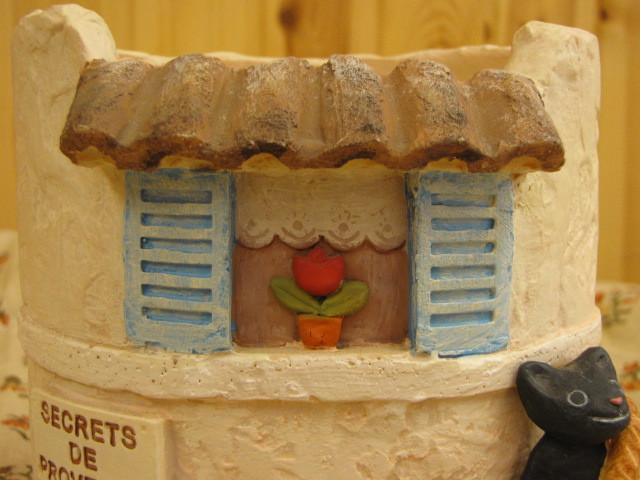 ガーデンポット クロネコ プロヴァンス プランターカバー レジン製 植木鉢 セトクラフト 鉢植え かわいい植木鉢_プロヴァンス風の小窓