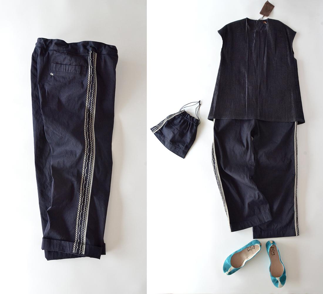 美品 45R 藍染 サイド 刺繍 イージー ワイド パンツ 巾着付き | インディゴ 45rpm