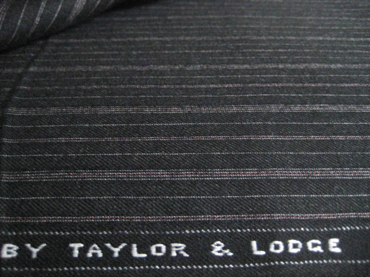 名品 テーラー&ロッジ チャコールグレー地に白とボルドーのオルタネイトストライプ 2.8m Taylor&Lodge_画像4