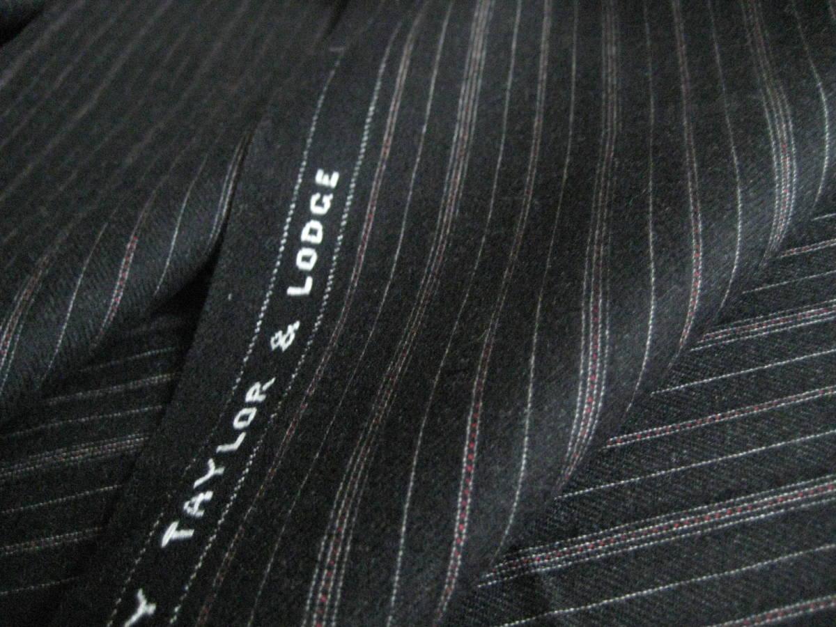 名品 テーラー&ロッジ チャコールグレー地に白とボルドーのオルタネイトストライプ 2.8m Taylor&Lodge_画像5