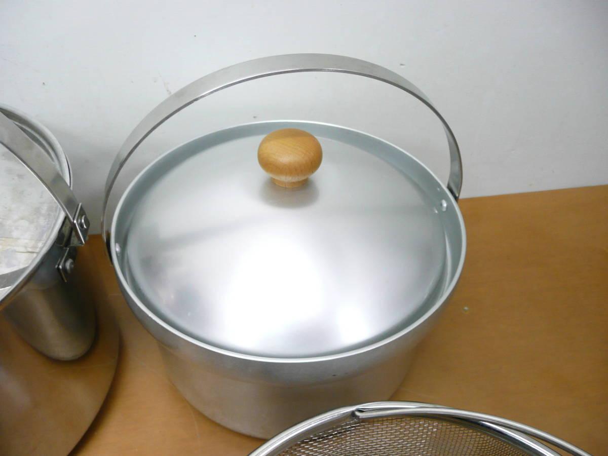中古 ユニフレーム 鍋セット(フライパン、鍋×3種類、ザル)計5点セット  コンパクト収納 キャンプ アウトドア_画像5
