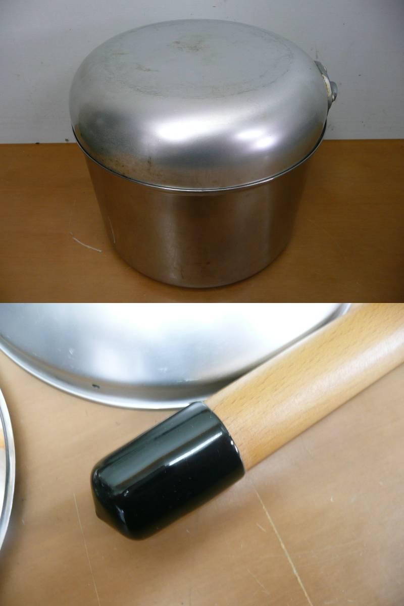 中古 ユニフレーム 鍋セット(フライパン、鍋×3種類、ザル)計5点セット  コンパクト収納 キャンプ アウトドア_画像7