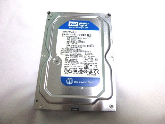 【中古】Western Digital WD3200AAJS-65M0A0 3.5インチ内蔵HDD 320GB 7200 RPM 8MB Cache SATA 3.0Gb/s