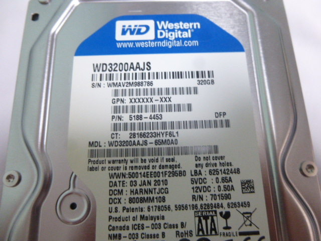 【中古】Western Digital WD3200AAJS-65M0A0 3.5インチ内蔵HDD 320GB 7200 RPM 8MB Cache SATA 3.0Gb/s_画像2