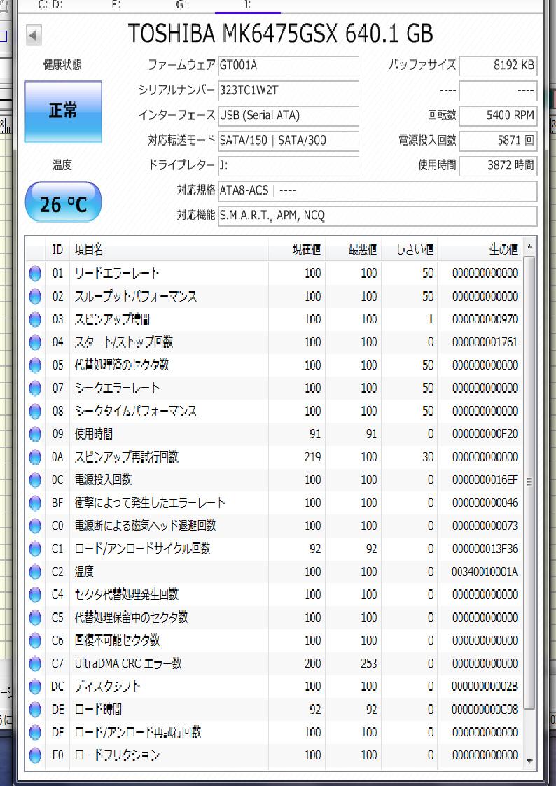【中古】TOSHIBA MK6475GSX 640GB SATA 2.5インチ内蔵HDD 5400rpm_画像3