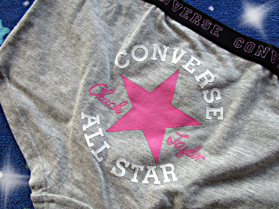 ё165♪カッコ可愛い♥コンバースのボーイレングス ショーツ*灰*ピンク星*綿混ёボクサー#JS6#JC#JK#OL#新品 保管品*通学*体育*部活 _画像2