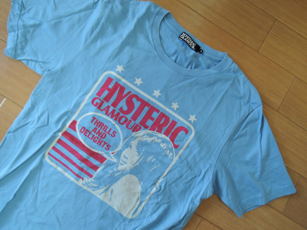 HYSTERIC GLAMOURヒステリックグラマーTシャツS水色系ガール/カットソー_画像2