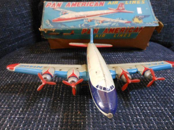 ☆当時物 日本製 ブリキ玩具 パンアメリカン エアライン 飛行機 箱付 青柳☆ブリキ ゼンマイ ビンテージ 貴重 JAPAN_画像6
