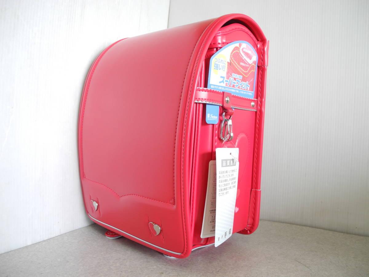 ●未使用 展示品!セイバン 天使のはね ランドセル ラブピ 女の子 ビビットピンク 赤に近いピンク A4ファイルOK!L-43_画像2