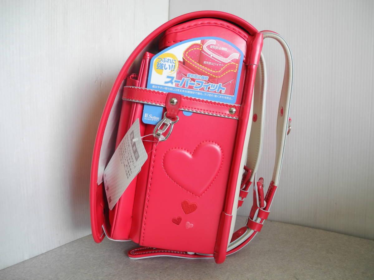 ●未使用 展示品!セイバン 天使のはね ランドセル ラブピ 女の子 ビビットピンク 赤に近いピンク A4ファイルOK!L-43_画像3