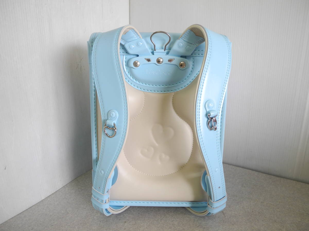 ●未使用 展示品!セイバン 天使のはね ランドセル ラブピ 女の子 サックスブルー 水色 A4ファイルOK!_画像6