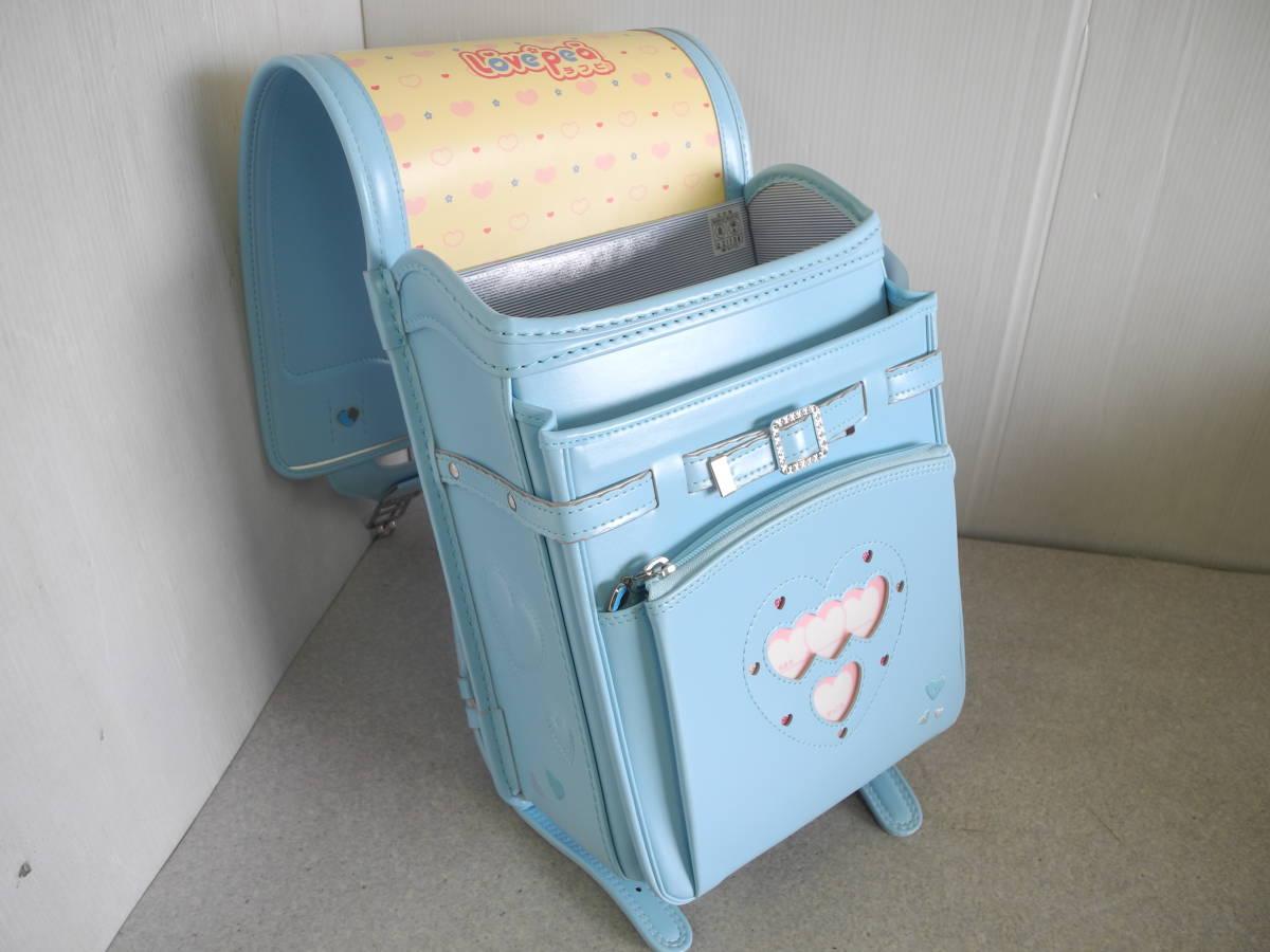 ●未使用 展示品!セイバン 天使のはね ランドセル ラブピ 女の子 サックスブルー 水色 A4ファイルOK!_画像7