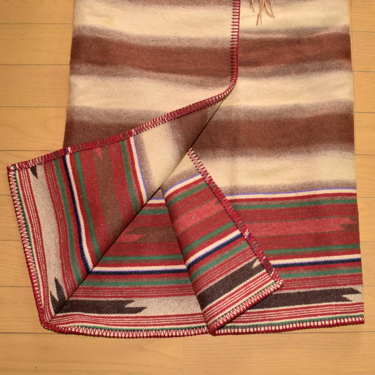 美品!USA製 ポロカントリー ネイティブ柄 ブランケット M ラグ ロング 巻きスカート コンチョ付 古着 ナバホ インディアン ビンテージ_画像3